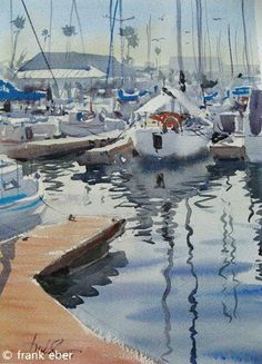 """""""Redondo Beach Harbor"""" in Redondo Beach, California. This won the Anne and Samuel Seeman Memorial Award at the 2010 Exhibition of the Transparent Watercolor Society of America (TWSA). © Frank Eber."""