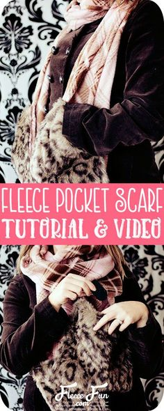 You can make a fleece scarf with pockets tutorial! Simple step by step tutorial. Written and video tutorial to walk you through it. Fleece Projects, Easy Sewing Projects, Sewing Projects For Beginners, Sewing Tutorials, Sewing Tips, Sewing Ideas, Sewing Crafts, Sewing Essentials, Scarf Tutorial