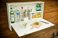 Wall Banger Liquor Cabinets - Home Bar Has Fold Down Countertop