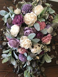 I Do Collection- Multi Purple Wood Flower Cascading Bouquet Sola Wood Flower Bouquet Customizable Cascade White Wedding Bouquets, Wedding Flower Arrangements, Flower Centerpieces, Floral Bouquets, Wedding Centerpieces, Tall Centerpiece, Bridal Bouquets, Floral Arrangements, Wood Flower Bouquet