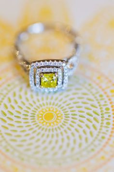 Canary diamond engagement ring | Art Pop Modern New York City Wedding In Shades Of Yellow | Photograph by Cassi Claire  http://storyboardwedding.com/art-pop-modern-new-york-city-wedding-shades-yellow/
