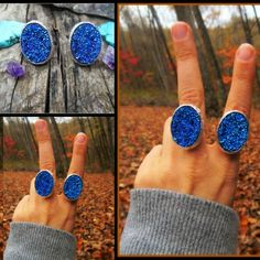 Some brand new dark blue druzy rings  up in the shop. Big n beautiful .. Link in my bio.  #love #beautiful #beauty #autumn #rings #ring #jewelry #boho #bohemian #gypsy #alternative  #hippie #indie #festival #fallfashion #fun #statement #Style  #stylist #crystal  #crystals #nature #fashionblogger #freespirit #etsyshop #goodvibes #instagood #november #wanderlust #peace