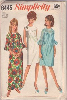 Vintage 60's Sewing Pattern LOVELY Mod Shaped Yoke Shirred Bust Shift Dress, Circle Flounce Sleeve Hawaiian Cruise Maxi Gown, Lounge Dress