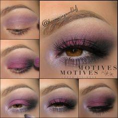 Makeup tutorial for hazel eyes using Motives Cosmetics: Eye Base, Mavens Element Palette, Pressed Shadows in Aphrodite, Ecstasy, Vino & Onyx
