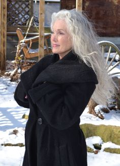 Calling all brave women over 60......let your hair grow white and long, put your beautiful face out there with NO shame to the well-earned lines on it, cross your determined arms and sally forth with a strong spirit.