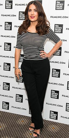 Last Night's Look: Love It or Leave It? Vote Now! | SALMA HAYEK | in a nautical striped shirt with black trousers and black sandals at the Film Society of Lincoln Center Summer Talks in N.Y.C.
