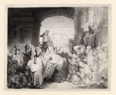 Rembrandt Harmensz van Rijn The Triumph of Mordecai circa 1641 Etching and drypoint 175 x 213 mm ¾ by 8 ½ inches) C. / Old Master Leiden, Christopher Clark, Gouache, Rembrandt Etchings, Rembrandt Drawings, Thing 1, Dutch Painters, Dutch Artists, Dibujo