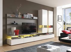 Contemporary Felino Wall Storage Unit with Optional LED with Choice of Wood or Lacquer