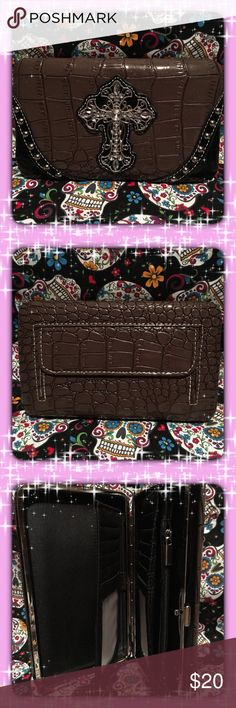 """🆕 Western Style Wallet 🆕 I kept the purse😉 I have the same wallet but different color. Mines Pink. I've had it for seven years!! And it's still in good shape.           Western style wallet. Color Coffee.  Faux leather cover with cross motif and rhinestone studs. Clam shell snap closure. Back pocket with zipper closure. Credit cards holder slots and clear ID Windows. Dimensions: 7.6""""W x 4""""H x 0.75""""D Bags Wallets"""