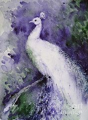 Recently Sold -  - Peacock Paintings - White Peacock  by Zaira Dzhaubaeva