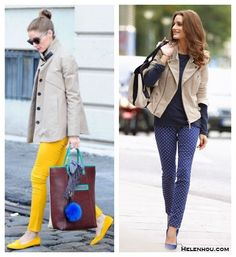 how to wear a military jacket/biker jacket, how to wear color skinny jeans/printed pants, olivia palermo, street style, fall/winter,   On Olivia Palermo: khaki jacket, yellow skinny jeans, Stubbs Wootton yellow suede loafer, Berry Brown colorblock tote; On Olivia Palermo: khaki biker jacket, blue polka dot jeans, blue suede pump, navy t shirt, Chloe Alice Springs colorblock Handbag,
