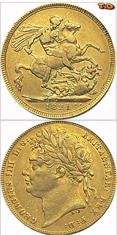 N♡T. George IV 1821 - 1825 Half Sovereign  Coins measures 19mm and weighs 3.99 Grms  22ct Gold