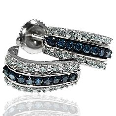 Blue diamond hoop earrings white diamonds white gold half round .33ct White gold. 6 MONTH LAYAWAY. #MidwestJewellers
