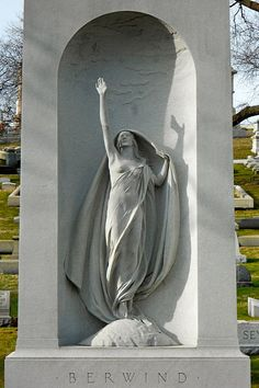"Berwind tomb in Laurel Hill Cemetery, Philadelphia. Sculpture ""Aspiration"" by Harriet Whitney Frishmuth, 1933.  Philadelphia, Pennsylvania"