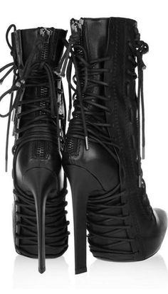 Haider Ackermann Lace-up leather ankle boots and other apparel, accessories and trends. Browse and shop 19 related looks. High Heel Boots, Heeled Boots, Bootie Boots, Shoe Boots, Dream Shoes, Crazy Shoes, Me Too Shoes, Hot Shoes, Shoes Heels