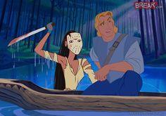 ilustración de Pocahontas como el villano Jason en Viernes 13
