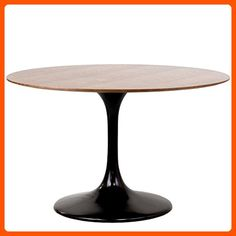 "Modway 48"" Eero Saarinen Style Tulip Dining Table in Black with Walnut Top - Improve your home (*Amazon Partner-Link)"