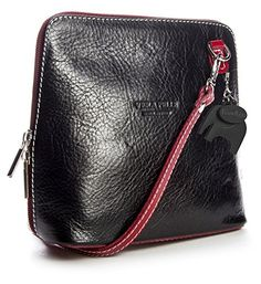 Big Handbag Shop Womens Mini Genuine Leather Cross Body Bag Black  Red Trim * You can find more details by visiting the image link.