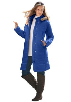 4f6abf883f990 Knee-Length Quilted Parka With Faux Fur Trim Hood. Trendy Plus Size  FashionPlus Size Womens ClothingSize ClothingPlus Size CoatsDown ParkaList Jacket ...