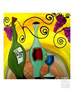 Vino And Grapes Giclee Print by Gino Savarino at Art.com