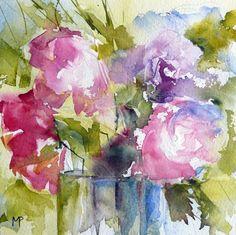 N°14 (Le petit bouquet) - Painting,  15x15 cm ©2012 Véronique Piaser-Moyen tarafından -  Boyama