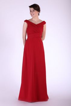 A-Line Red Chiffon Off The Shoulder Floor-Length Dress