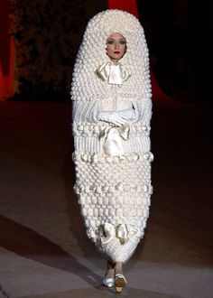 A white knitted cocoon makes the model look like a doll. Photo: A wedding dress designed in 1965 and showcased at Yves Saint Laurent's retrospective fashion show in Worst Wedding Dress, Ugly Wedding Dress, Crochet Wedding Dresses, Horrible Wedding Dress, Wedding Dress Fails, Worst Bridesmaid Dresses, Funny Wedding Dresses, Tacky Wedding, Funny Weddings