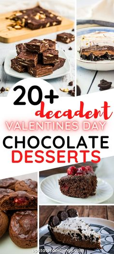 This collection of chocolate desserts is perfect for treating your sweetheart on Valentine's Day. Includes ideas for the best chocolate cake, pie, cupcakes, cookies, tarts and more. Easy Desserts For Kids, Fall Desserts, Healthy Dessert Recipes, Delicious Desserts, Best Chocolate Cake, Chocolate Desserts, Easy Homemade Recipes, Sweet Recipes, Valentines Day Chocolates