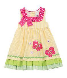 Rare Editions 3-24 Months Butterfly-Appliqued Seersucker Dress | Dillard's Mobile