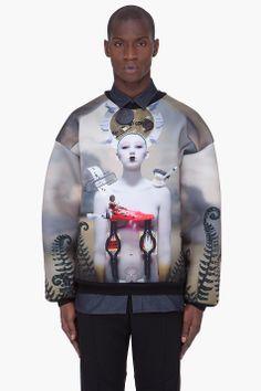 JUUN.J Taupe Robot Print Neoprene Sweater