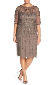 Adrianna Papell Beaded Cocktail Dress (Plus Size) Mob Dresses, Trendy Dresses, Plus Size Dresses, Plus Size Outfits, Bride Dresses, Halter Dresses, Plus Size Fashionista, Mother Of The Bride Gown, Dress Vestidos