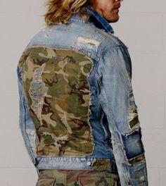5afb95ff7 Denim Supply Ralph Lauren Men Military Army Camo Rip Distressed Patchwork  Jacket