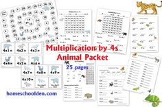 Multiplication 4 In A Row | Mathe, Studenten und Mathe-Arbeitsblätter
