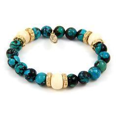 Semi Precious Stone and White Bone Beads Strech Bracelet with Weathered Donut Rings