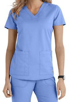 Grey's Anatomy 2 Pocket V-neck Scrub Tops