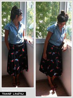 Woven pleated black midi skirt by TAMARLANDAU on Etsy, $60.00