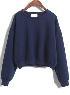 Sudadera crop manga larga-azul marino 13.80