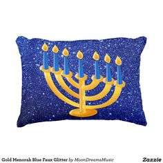 #GoldMenorah #BlueFauxGlitter #AccentPillow by #MoonDreamsMusic #HanukkahDecor