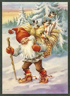 2020 Wall Calendar pages) Vintage Reprint Posters Christmas Gnomes By Lars Carlsson Fantacy Illustration Ads Vintage Greeting Cards, Vintage Christmas Cards, Christmas Images, Vintage Postcards, Christmas Gnome, Scandinavian Christmas, Illustrations, Illustration Art, Gnome Images