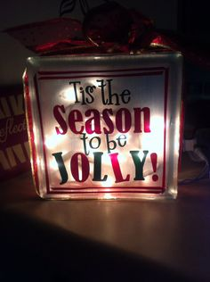 Tis the Season to be Jolly Glass Block by Allhungupwallart on Etsy, $30.00