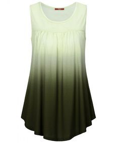 ce126f8ae01 Women's Summer Sleeveless Shirts Scoop Neck Ombre Pleated Tunic Tank - Army  Green - CK18C4SMXCW