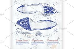 Fashion vector sketch womens shoes.. Illustrations