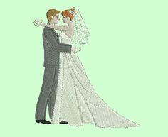 bride and groom machine embroidery design weddings