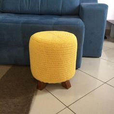 The crochet puff is a versatile, low-cost piece that contributes to the comfort and warmth of environments such as bedroom and living room - the most Crochet Pouf, Love Crochet, Beautiful Crochet, Navy Blue Sofa, Colourful Living Room, Striped Rug, Knitting Yarn, Ottoman, Christmas Decorating Ideas
