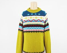 Vintage 70s Scandinavian Sweater Gold Chunky Knit Pullover - Large
