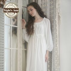 Women's Plus Size Nightgowns Cotton Nighties, Cotton Gowns, White Nightgown, Chemise Dress, Medieval Dress, Medieval Clothing, Medieval Fantasy, Chic Outfits, Fashion Outfits