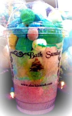 Bath Sundae: Prepare different color of mini bathbombs in a different shape of ice cube trays. Put some fizz at the bottom and put different color of mini bathbombs at the top. Great gift (my best seller)