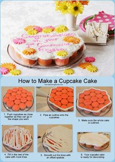 DIY Cupcake Cake with Fondant Flowers