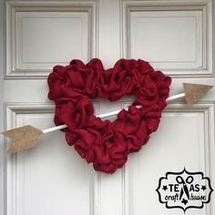 Heart Burlap Wreath DIY                                                                                                                                                      More