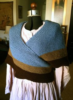 "Handknit Civil War wrap shawl/sontag.  i like the width over the arms.  lower stripes too. 23"" from neck to point in back and 110"" wide."